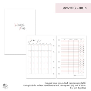 Monthly + Bills Pink - Pocket Rings