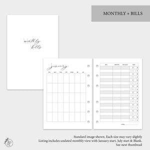 Monthly + Bills - A6 Rings
