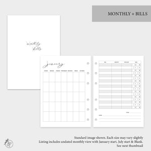 Monthly + Bills - Personal Wide Rings