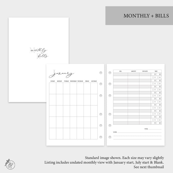 Monthly + Bills - Personal Rings