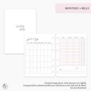 Monthly + Bills Pink - A5 Rings