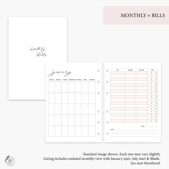 Monthly + Bills Pink - Personal Rings