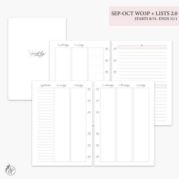 Sep-Oct Wo3P + Lists 2.0 Pink - A5 Rings