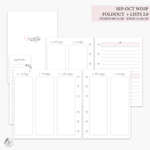 Sep-Oct Wo3P Foldout + Lists 2.0 Pink - A6 Rings