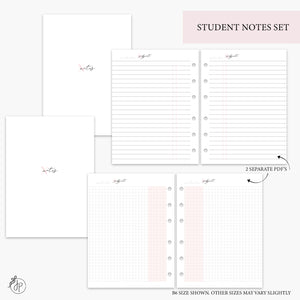 Student Notes Set Pink - B6 Rings