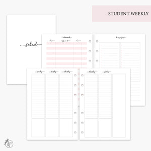 Student Weekly Pink - A5 Rings