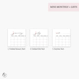 Mini Monthly + Lists Pink - A5 Rings