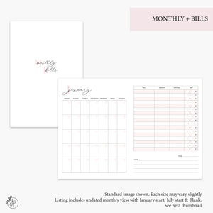 Monthly + Bills Pink - B6 TN