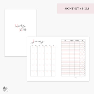Monthly + Bills Pink - A6 TN