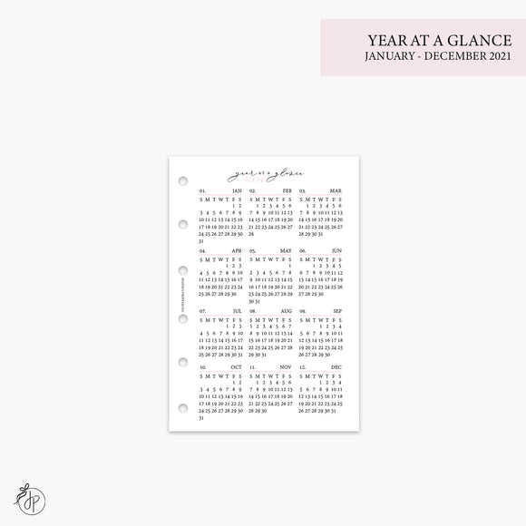 Year at a Glance 1 PG 2021 Pink - Pocket Rings