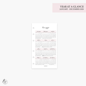 Year at a Glance 1 PG 2020 Pink - Personal Rings