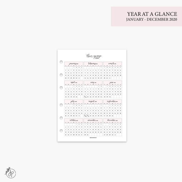 Year at a Glance 1 PG 2020 Pink - B6 Rings
