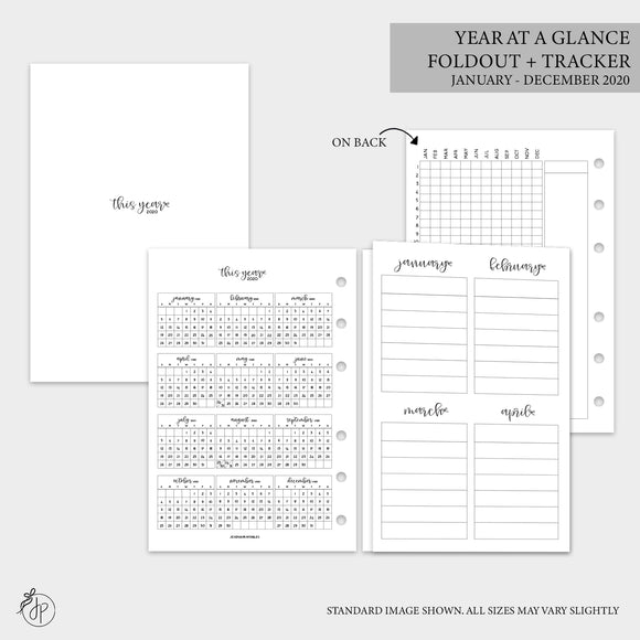 Year at a Glance Foldout + Tracker 2020 - B6 Rings