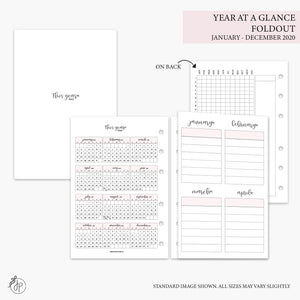Year at a Glance Foldout + Tracker 2020 Pink - A6 Rings