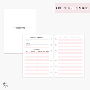 Credit Card Tracker Pink - Personal Wide Rings