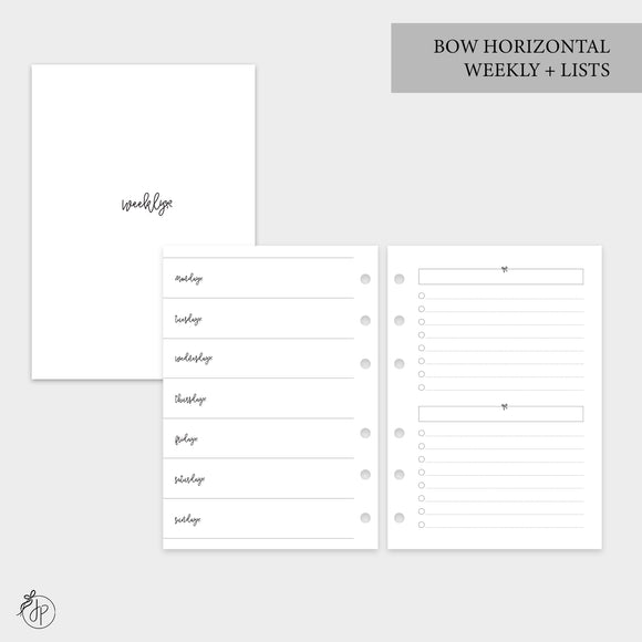 Bow Horizontal Weekly + Lists - Personal Wide Rings
