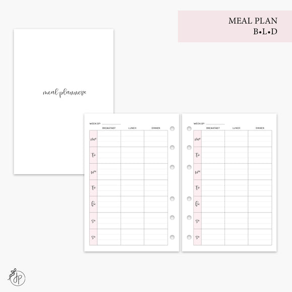 Meal Plan BLD Pink - A6 Rings
