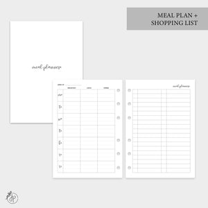 Meal Plan + Shopping List - Personal Wide Rings