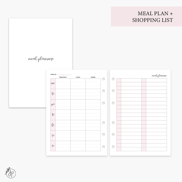 Meal Plan + Shopping List Pink - Personal Wide Rings