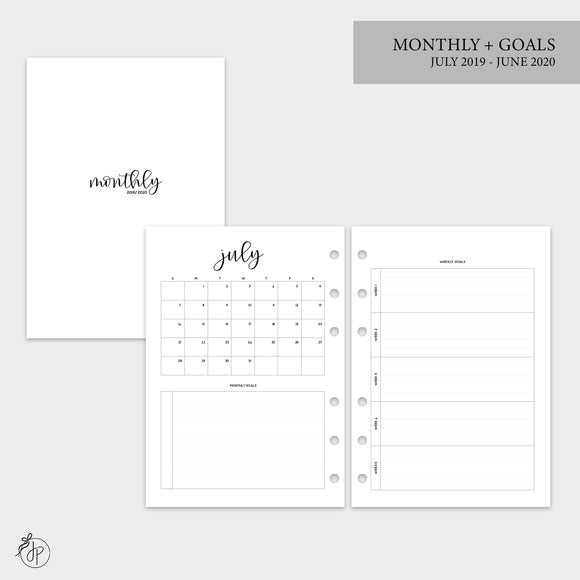 Monthly + Goals 19/20 - A5 Rings