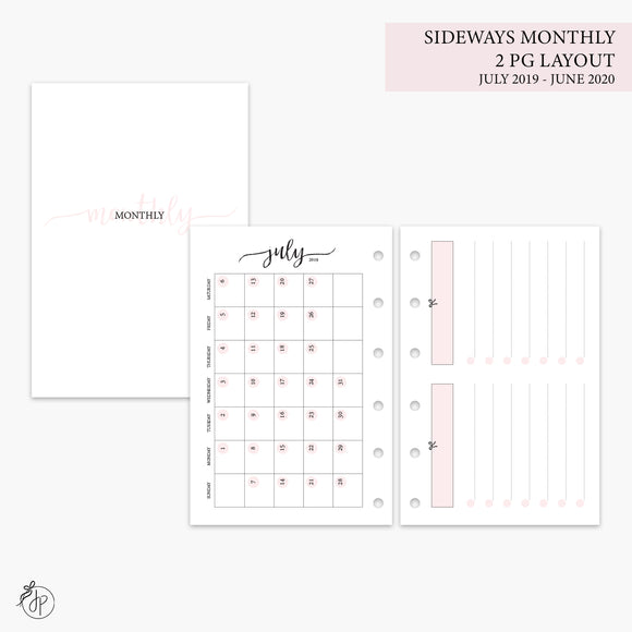 Sideways Monthly 2 PG Layout 19/20 Pink - Pocket Rings