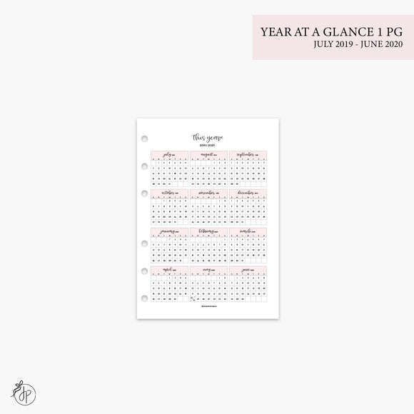 Year at a Glance 1 PG 19/20 Pink - A5 Rings