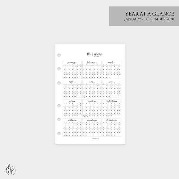 Year at a Glance 1 PG 2020 - Personal Wide Rings
