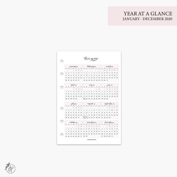 Year at a Glance 1 PG 2020 Pink - A6 Rings