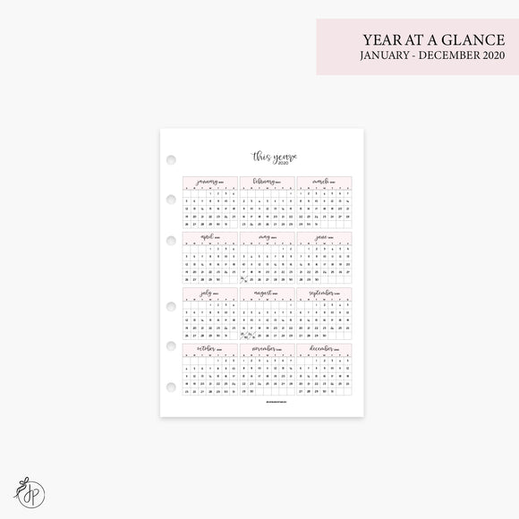 Year at a Glance 1 PG 2020 Pink - Personal Wide Rings
