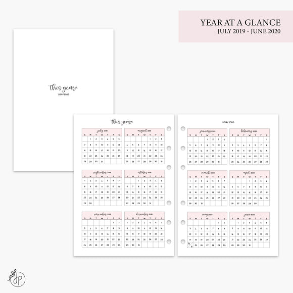 Year at a Glance 19/20 Pink - A5 Rings