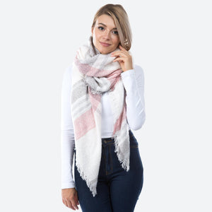 Cozy Loose Knit Plaid Print Blanket Scarf