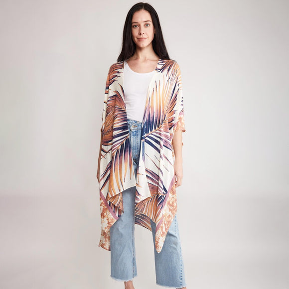 Enlarged Tropical Leaf Print Kimono