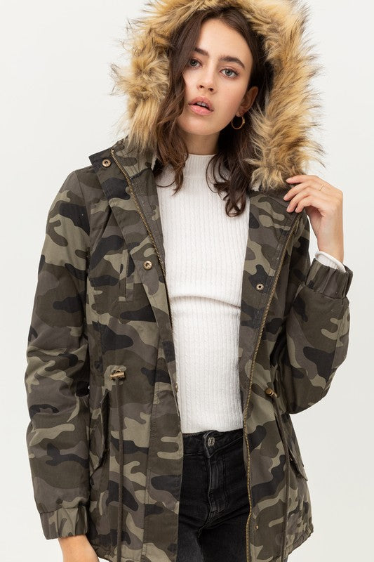 Camo Faux Fur Hooded Jacket