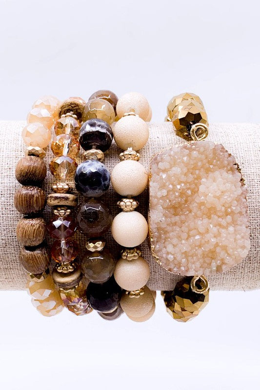 Druzy, Wood, & Glass Bracelet Set