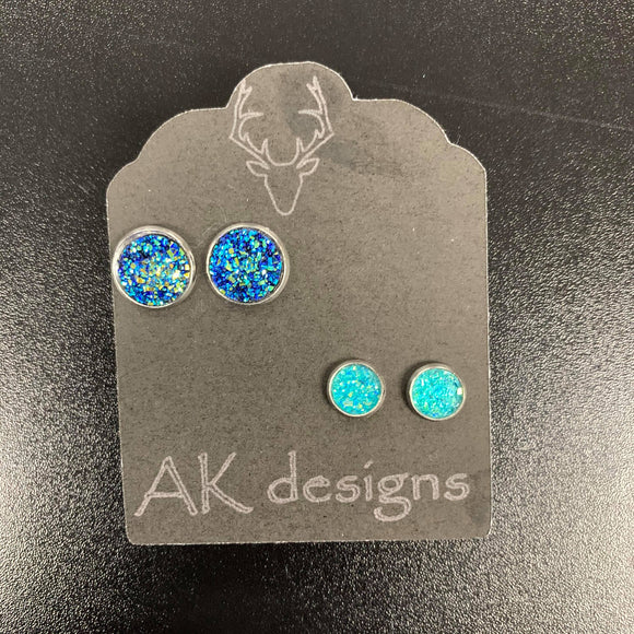 Blue Ice Stud Earrings - 2 Pack