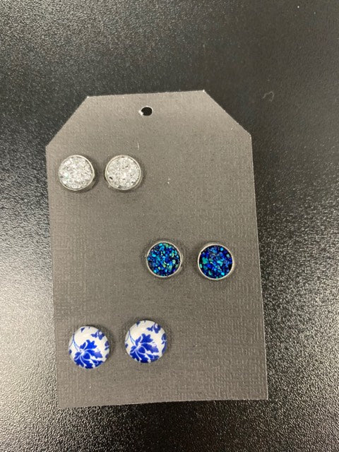 Blue Stud Earrings - 3 Pack