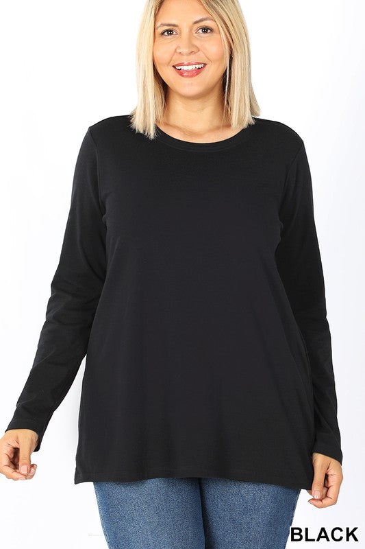 Plus Cotton Round Neck Longsleeve