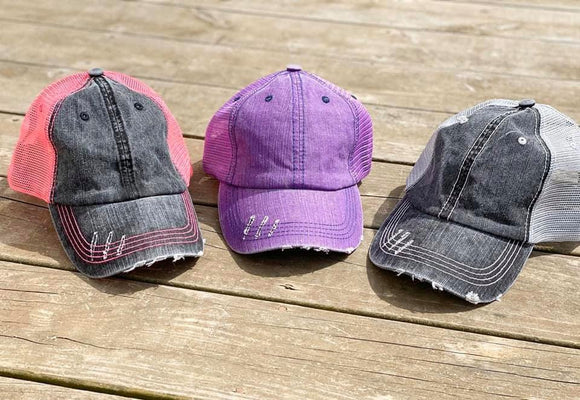 Distressed Ponytail Trucker Hat