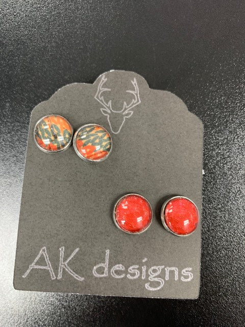 Red & Abstract Stud Earrings - 2 Pack