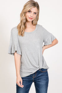 Knotted Ruffle Sleeve Top