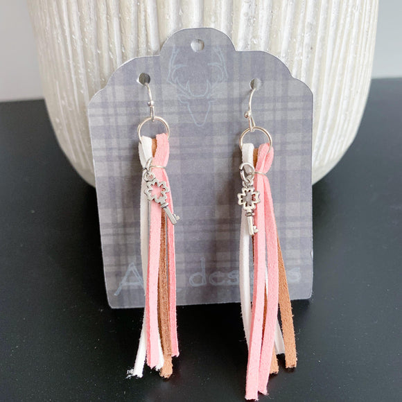 Pink & Brown Tassel Earrings