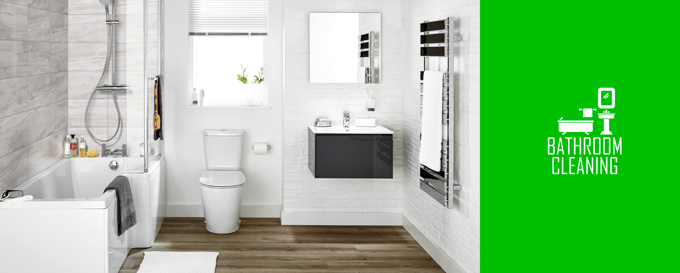In The Bathroom: ✔ Scrub & sanitize toilet, sink and shower/bathtub  ✔ Clean accessible surfaces  ✔ Clean mirrors and glass  ✔ Hang or fold towels neatly  ✔ Wipe exterior shelving, cabinets, drawers