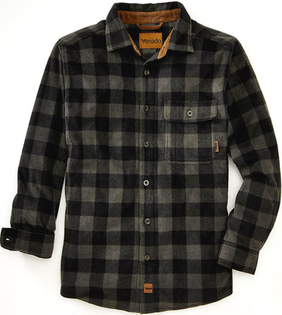 Bonfire Plaid Fleece Shirt Shirts VenadoInc Small Charcoal