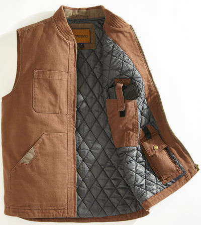 Concealed Carry Canvas Vest Mens Outerwear Venado Large Brown