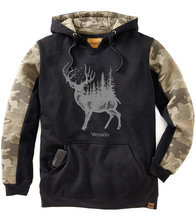 Forest Buck Camo Hoodie Mens Sweatshirt & Hoodies Venado Small Black