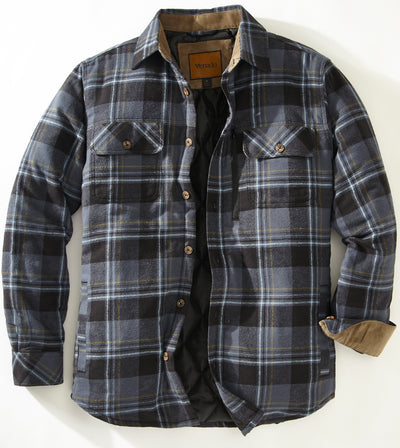 Quilt Lined Brushed Flannel Shirt Jacket Mens Outerwear Venado Blue Small