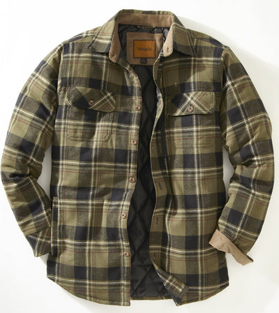 Quilt Lined Brushed Flannel Shirt Jacket Mens Outerwear Venado Olive Small