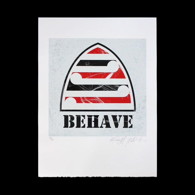 Behave (White) - Limited Edition Screenprint by Weston Frizzell
