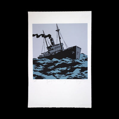 Freighter in Heavy Sea – Limited Edition Screenprint by Dick Frizzell