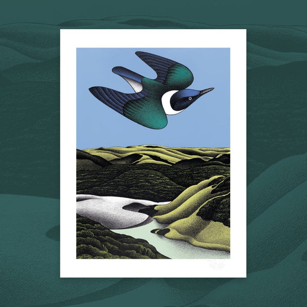 Swoop of the Kotare print by Don Binney
